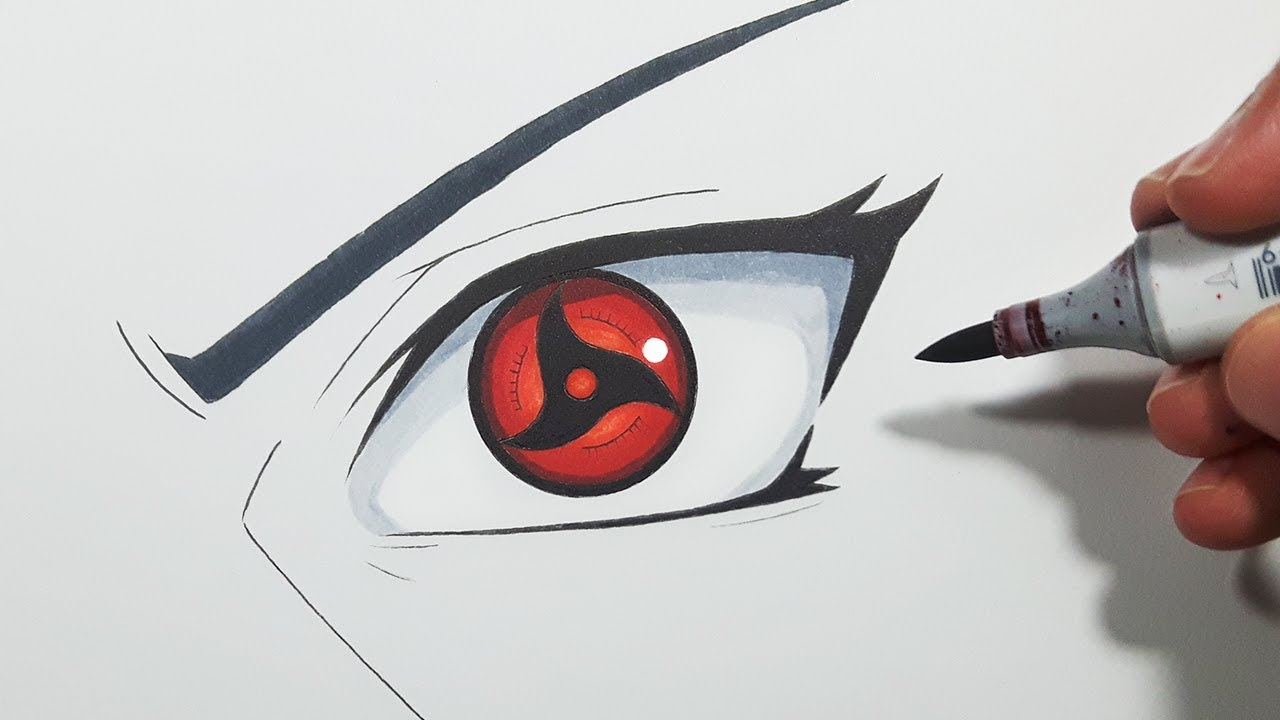 how to draw itachi s mangekyou sharingan step by step tutorial