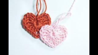 ❤Как связать маленькое сердечко крючком   How to knit small heart crochet