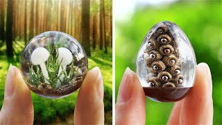 FAIRY PENDANTS MADE FROM DRIED PLANTS AND EPOXY RESIN (Polymer clay mushrooms)
