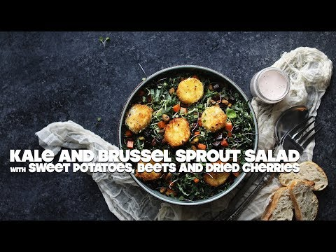 Kale and Brussel Sprout Salad Recipe with Beets and Fried Goat Cheese