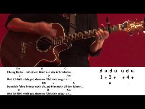 Achterbahn - Clueso / Gitarre/Guitar/Cover/Akkorde/Chords/Text/Lyrics/easy