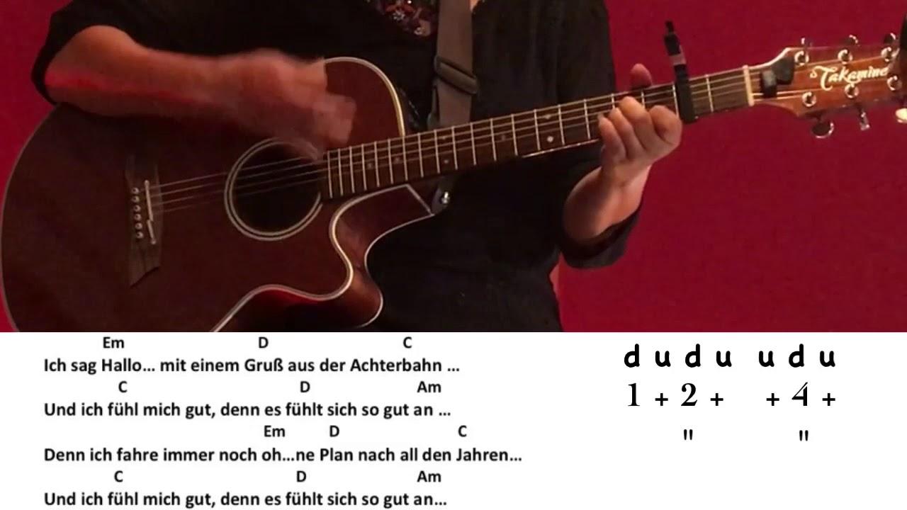 Achterbahn Clueso Gitarreguitarcoverakkordechordstext