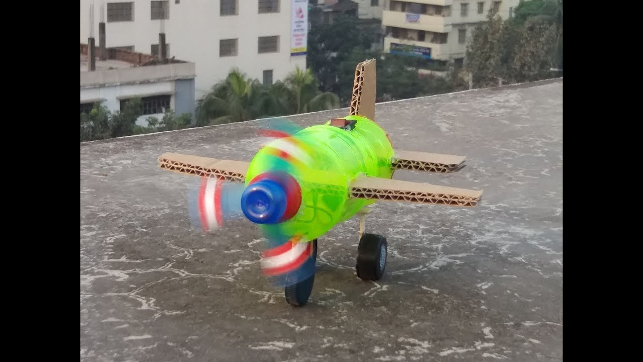 How To Make A Flying Airplane With Plastic Bottle And Cardboard - Dc Motor Fighter Jet