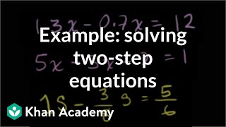 Example: two-step equations | Linear equations | Algebra I | Khan Academy