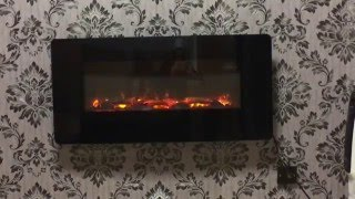 Pasadena Black LED Remote Control Wall Hung Electric Fire
