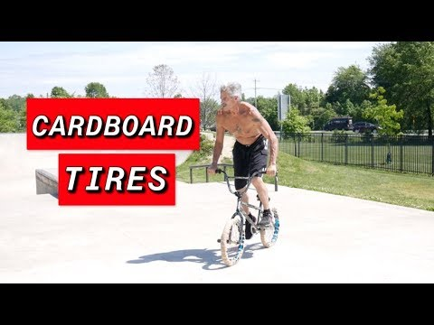 RANDOM GUY TAKES OVER THE CARDBOARD BMX TIRES ( WILL IT RIDE? )