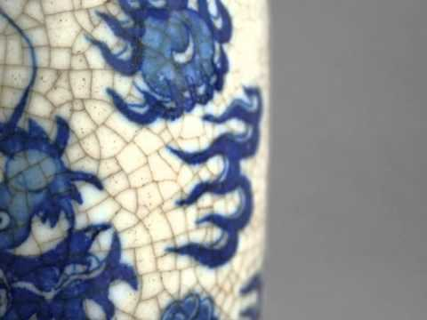 Antique Chinese White Porcelain Blue dragon pattern vase