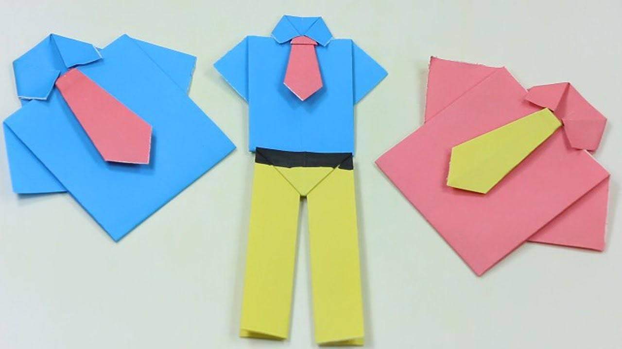How to make a Paper shirt and tie? (easy origami) - YouTube | 720x1280