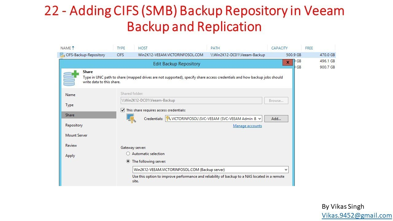 Veeam Advance Training   22 - Adding CIFS Backup Repository in Veeam Backup  and Replication