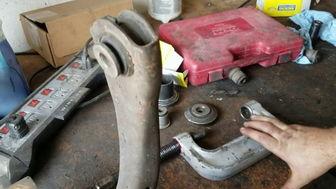 small resolution of upper controller arm bushings with a ball joint press chevy trailblazer