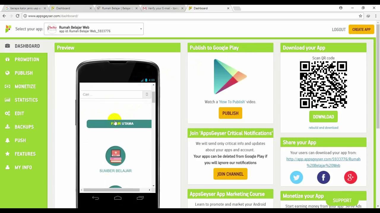 Mengubah website/Blog menjadi aplikasi android dengan Appsgeyser