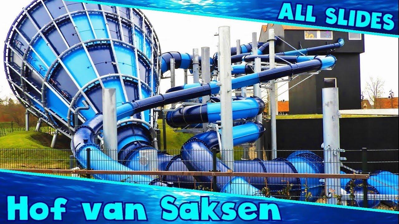 Hof Van Saksen Glijbaan.Huge New Water Slides At Hof Van Saksen Compilation