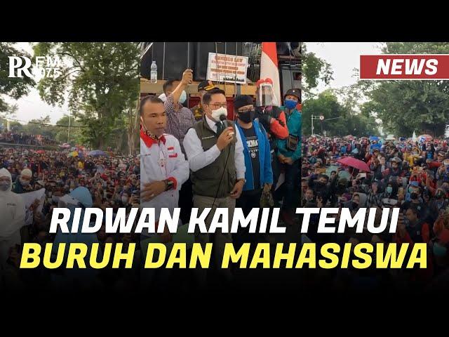 Ridwan Kamil Temui Buruh dan Mahasiswa yang Menolak Omnibus Law di Depan Gedung Sate