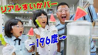 -196℃液体窒素でリアルすいかバー出来ちゃった!!!でんじろうサイエンスプロダクションで夏休みの実験だ~!!himawari-CH