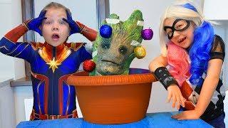 Харли Квинн вырастила НАСТОЯЩЕГО ГРУТА! Капитан Марвел и Харли Квинн СОСЕДКИ! Новогодняя серия!