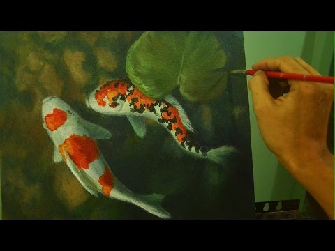 Acrylic Painting Tutorial | Koi Fishes In Shallow Water By JM Lisondra