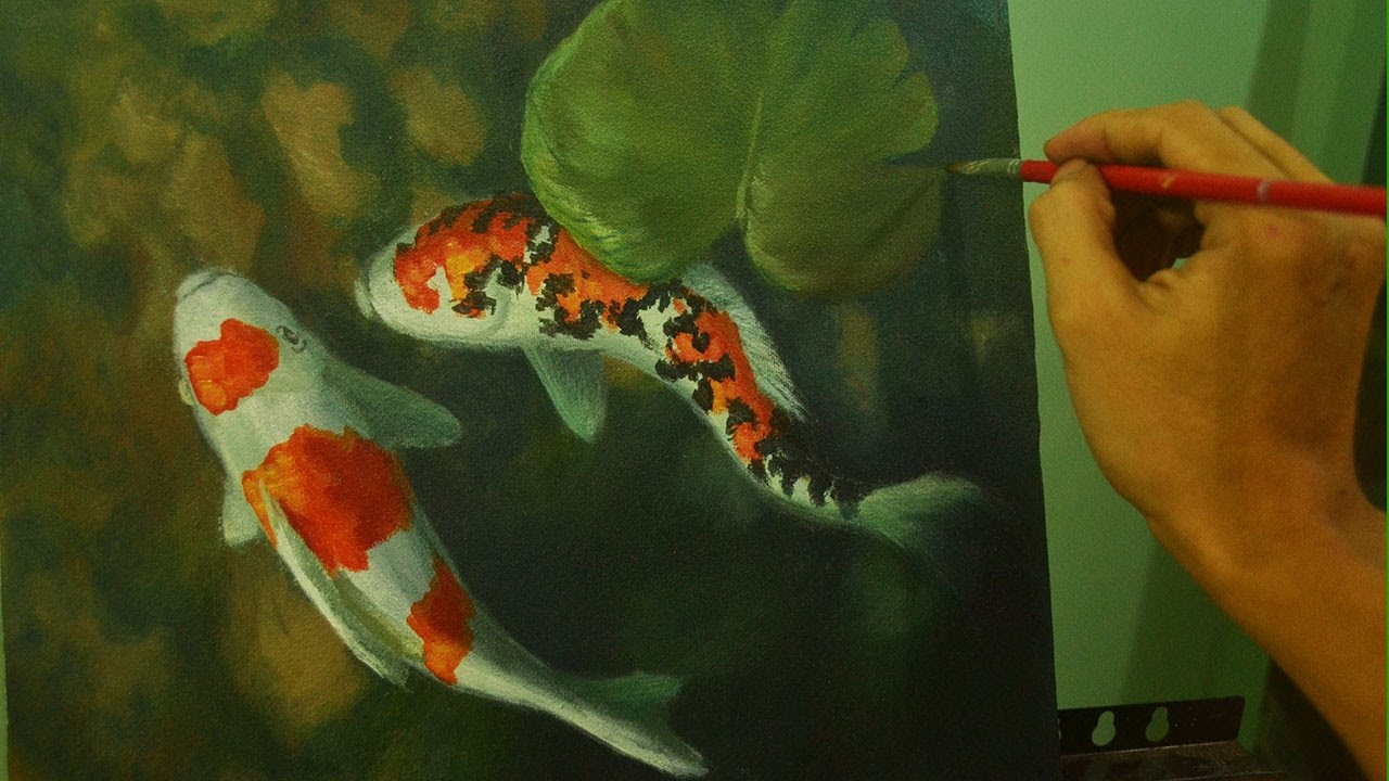 acrylic painting tutorial koi fishes in shallow water by jm
