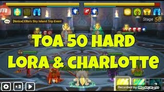 summoner war toa 50 hard occult girl lora and charlotte using farmable unit