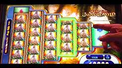 "BIG WIN! LIVE PLAY ""SUPER JUNGLE WILD"" Slot Machine Bonus"