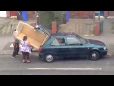 Attempting to transport a sofa