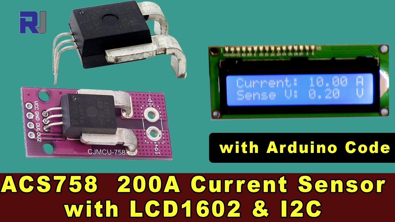 Measure current with ACS758 Current Sensor and LCD1602-I2C with Arduino