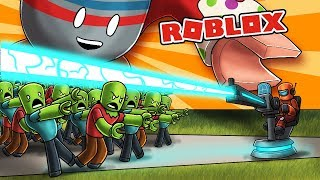 ROBLOX RAIL GUN TURRET VS ZOMBIE ARMY! (Tower Battles)