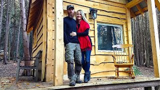 HER FIRST Overnight at the Off Grid Cabin! | Fire Plate, Burgers and Movie Night