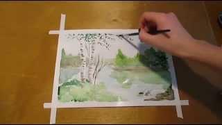 Как нарисовать весенний пейзаж акварелью.How to draw a spring landscape watercolor