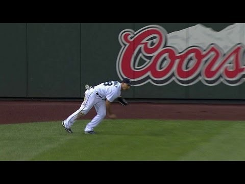 Ibanez's throw from left field doesn't go far