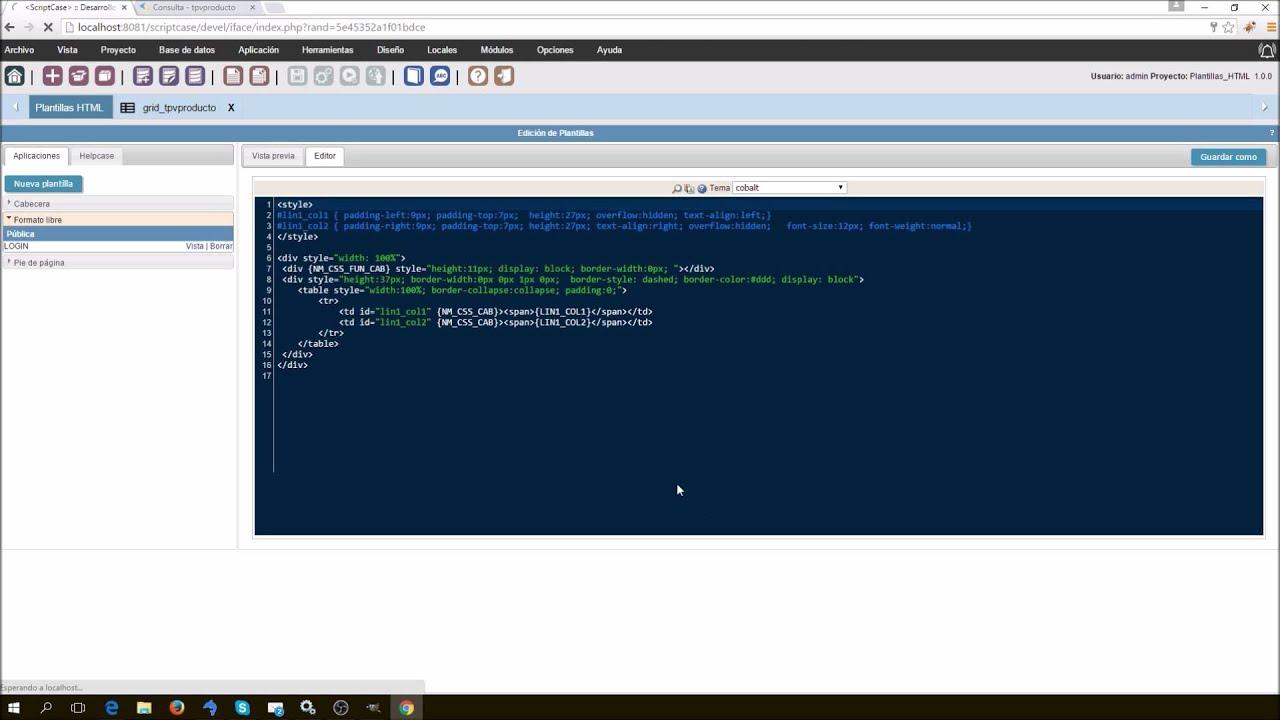 Formato Libre y Plantillas HTML en Grids Scriptcase - YouTube