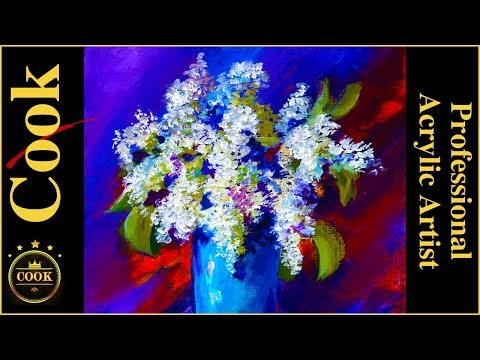 Easy Acrylic Lilacs and Blue Vase Painting Tutorial for Beginners