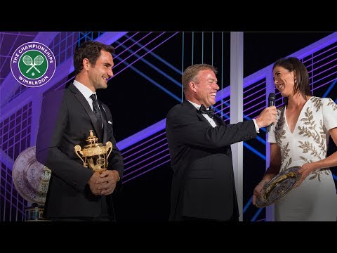 Roger Federer and Garbiñe Muguruza speak at Wimbledon Champions' Dinner