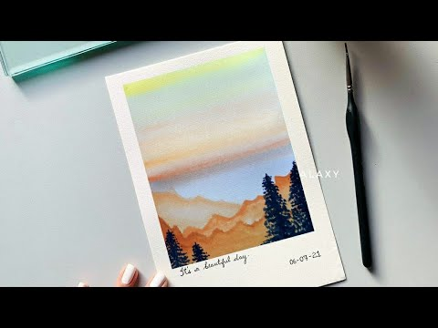 Watercolor painting For Beginners | Sunset Painting Easy For Beginners | Landscape mountain painting