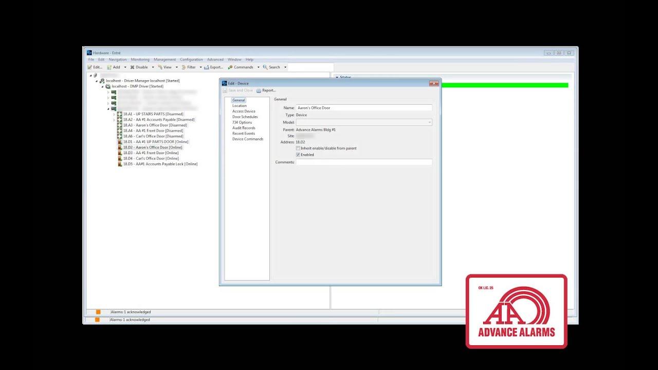 Advance Alarms - Tulsa Access Control - DMP Entre Tutorial - Adding a  Schedule to a Door