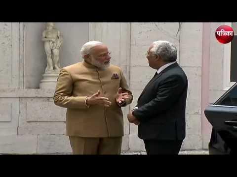 PM Narendra Modi received by Portuguese Prime Minister Antonio Costa in Lisbon.