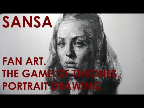 Demo, Sansa (Game of Thrones), Art of Charcoal Drawing by Zin Lim.a