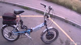 Самодельный электровелосипед / Home made E-bike(Самодельный электровелосипед: мотор-колесо 1300 ватт, скорость под 33 км/ч. Пробег до 80 км на максималке. Батар..., 2013-08-21T17:16:06.000Z)