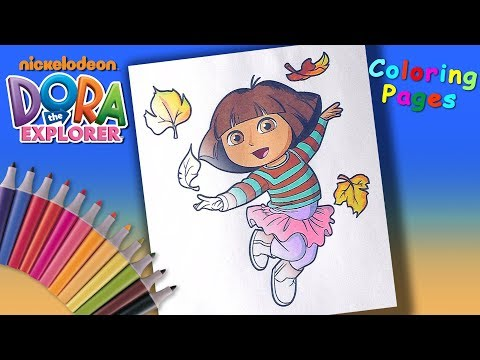Dora the Explorer #SpeedColoring And #LearnColors Dora and autumn leaves Coloring Page #forKids