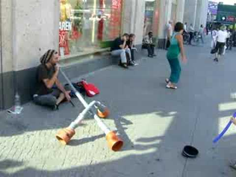 Incredible music with home-made instrument (didgeridoo)