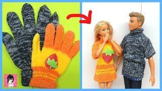 """""""SIÊU DỄ"""" Biến bao tay cũ thành đồ mới cho Barbie và Ken/ How to Make Doll Dress with Old Glove Ami"""