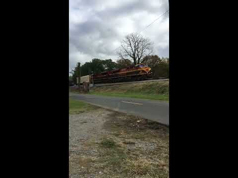 Slow Moving Kansas City Southern Freight Train rolling down the tracks.