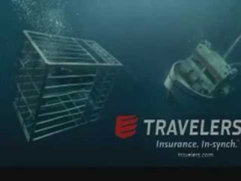 Funny Shark Cage Commercial TV Ad Video Travelers Insurance Risks Can Change so Stay in Synch 2006
