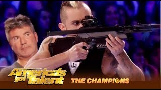 Deadly Games: Man SHOOTS At His Wife and It's Kind Of SEXY!   America's Got Talent: Champions
