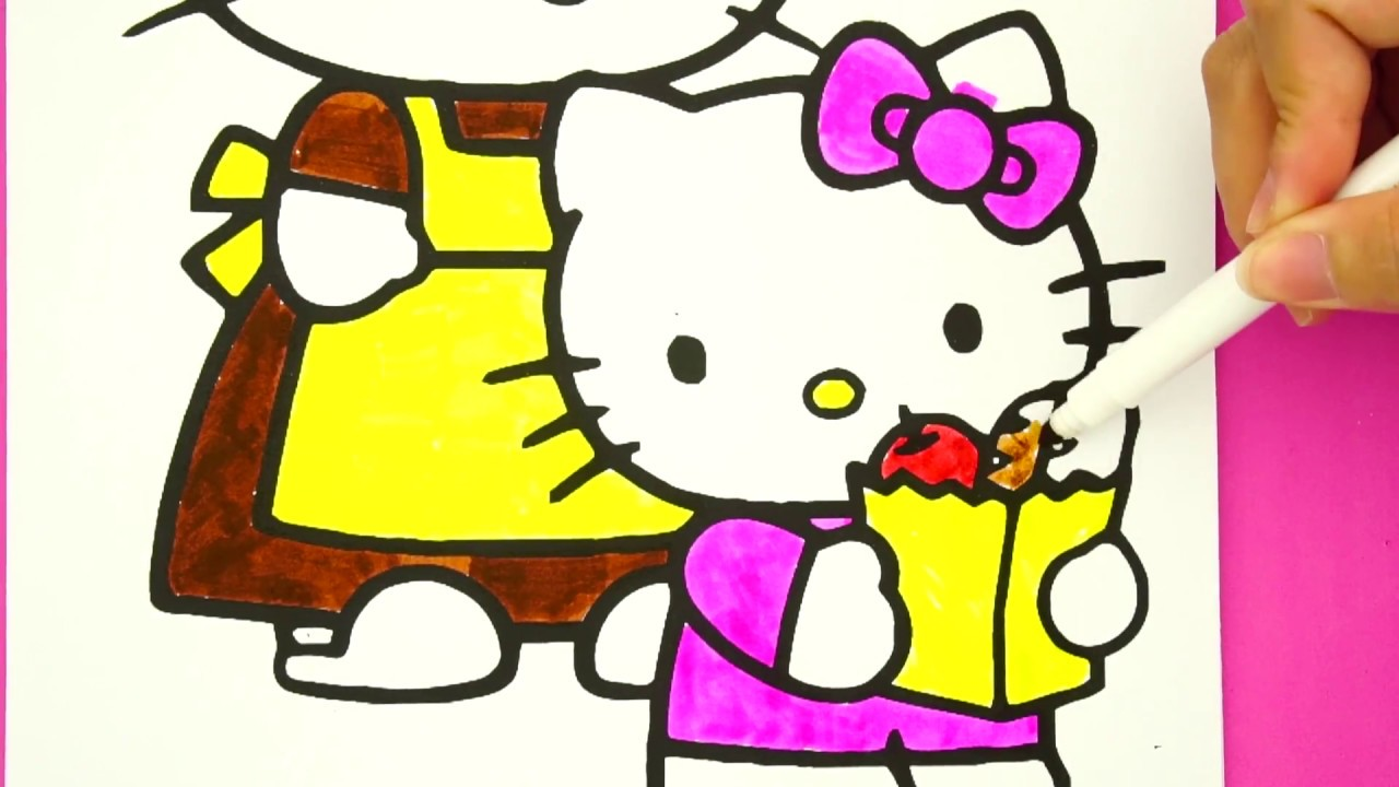 Coloring hello kitty shopping with mommy coloring pages for kids