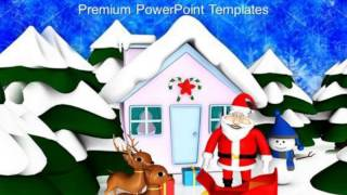 Santa Claus With Reindeer Christmas Eve Powerpoint Templates Ppt Backgrounds For Slides 1212 Present
