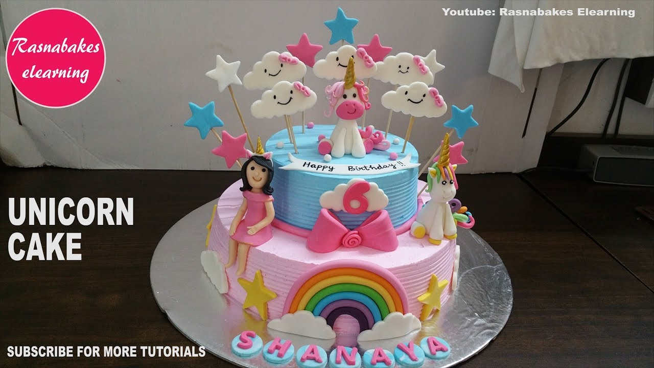 Rainbow unicorn birthday cake ideas design decorating tutorial video  classes courses at home