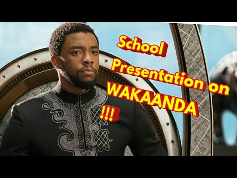 Student shows a presentation on Wakanda infront of the class teacher