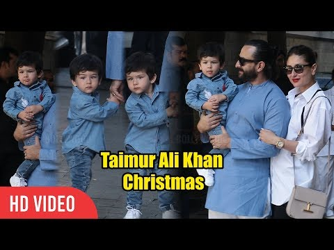 Taimur Ali Khan CUTE MOMENT with Media at Kapoor's Christmas Party | Kareena Kapoor, Saif Ali Khan