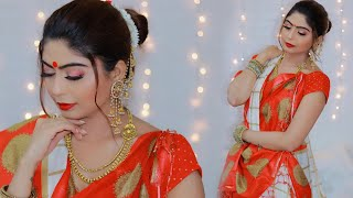 Step by Step Traditional DURGA PUJA Makeup Look 2019   Rinkal Soni