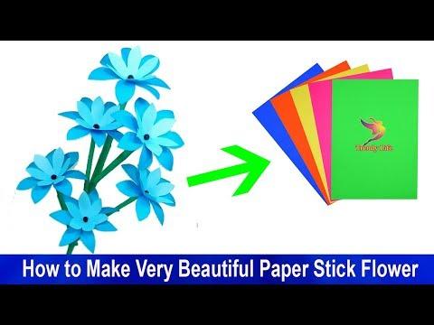 How to Make Very Beautiful Paper Stick Flower| Jarine's Crafty Creation | DIY Hand Craft Ideas